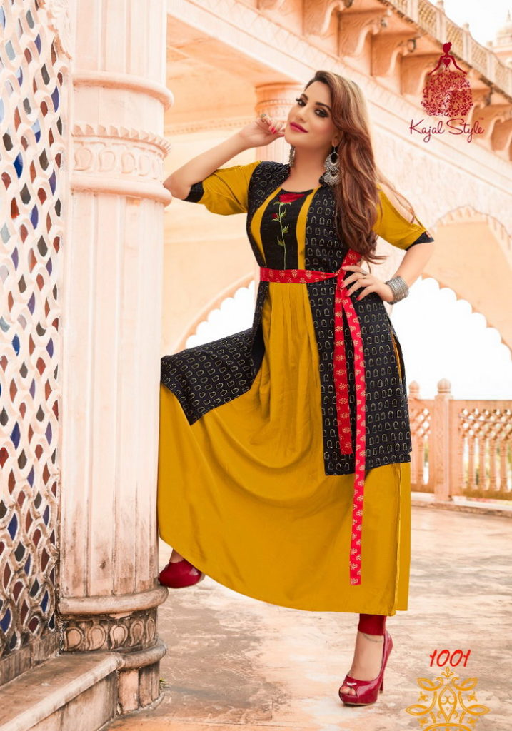 kajal style Fashion Festival vol 1 rayon long Kurtis wholesale lowest rate