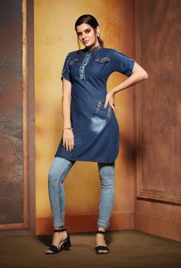kajree walker denim embroidery top wholesale online supplier