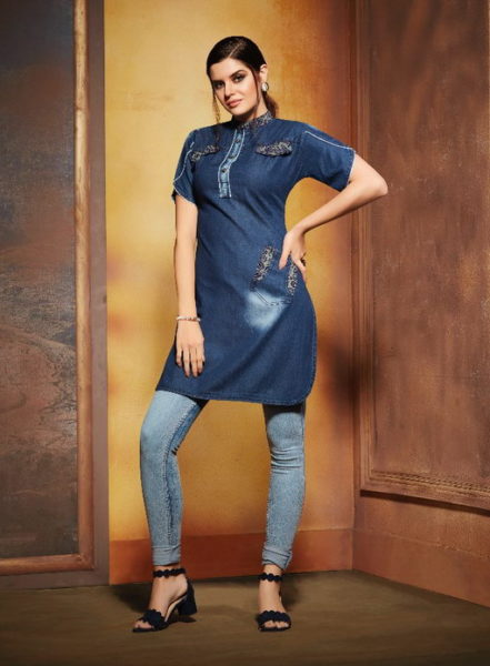 kajree walker denim embroidery top wholesale online supplier