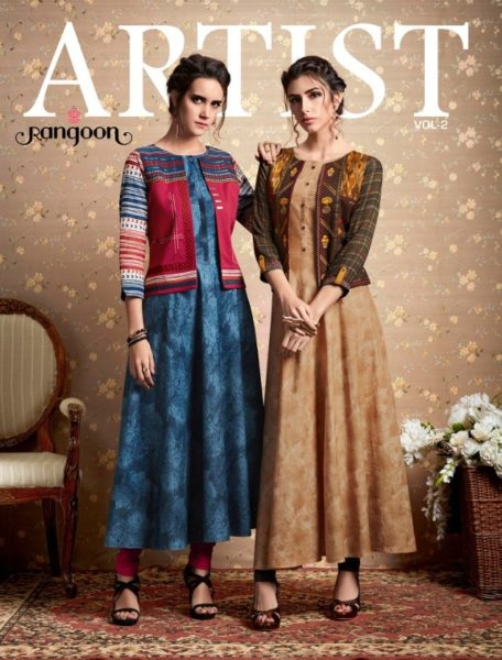 kessi Artist vol 2 Rangoon Gowns Kurtis With Traditional Work Jackets