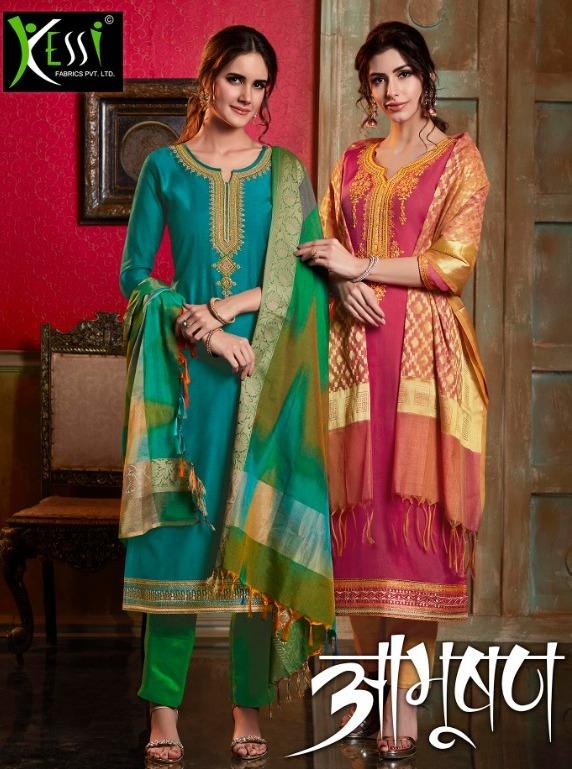 kessia Abhushan chanderi cotton salwar kameez with banaras dupatta wholesale