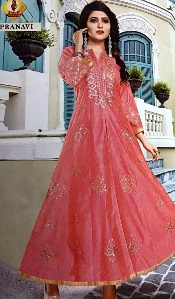 Shruti Angel Designer Silk Gown Kurtis Wholesaler