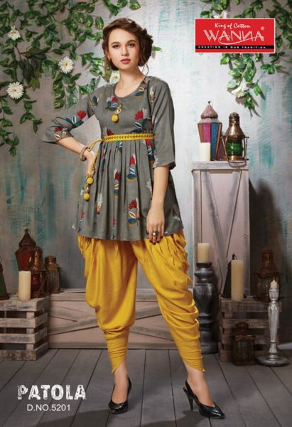 Wanna Patola Rayon Kurtis With Dhoti Catalogue manufacturer wholesaler