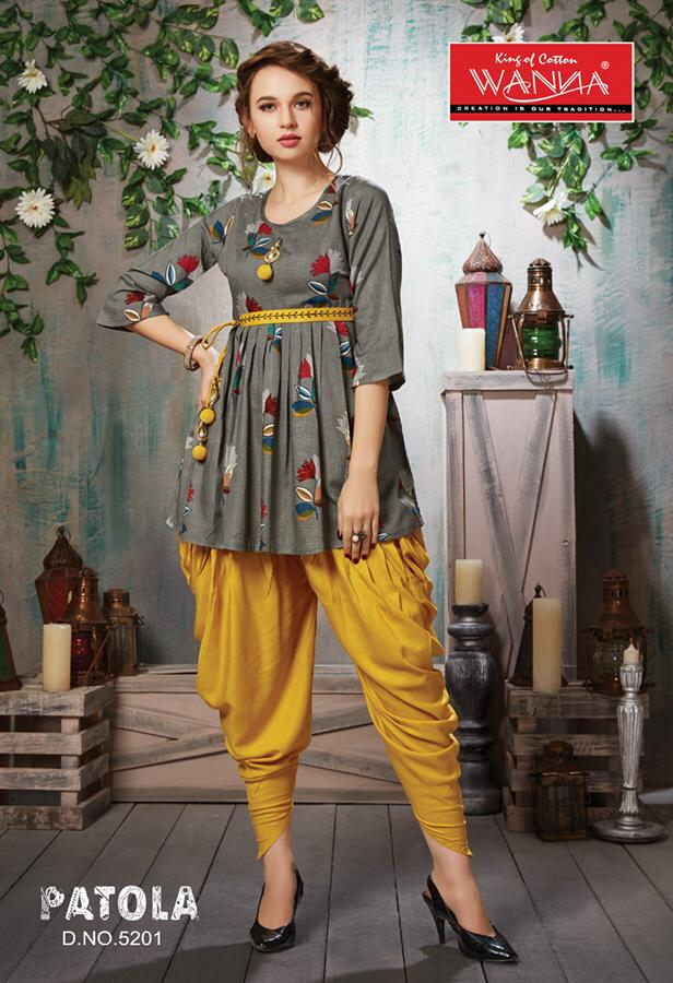 Wanna Patola Rayon Kurtis With Dhoti Catalogue manufacturer wholesaler @ RS 765