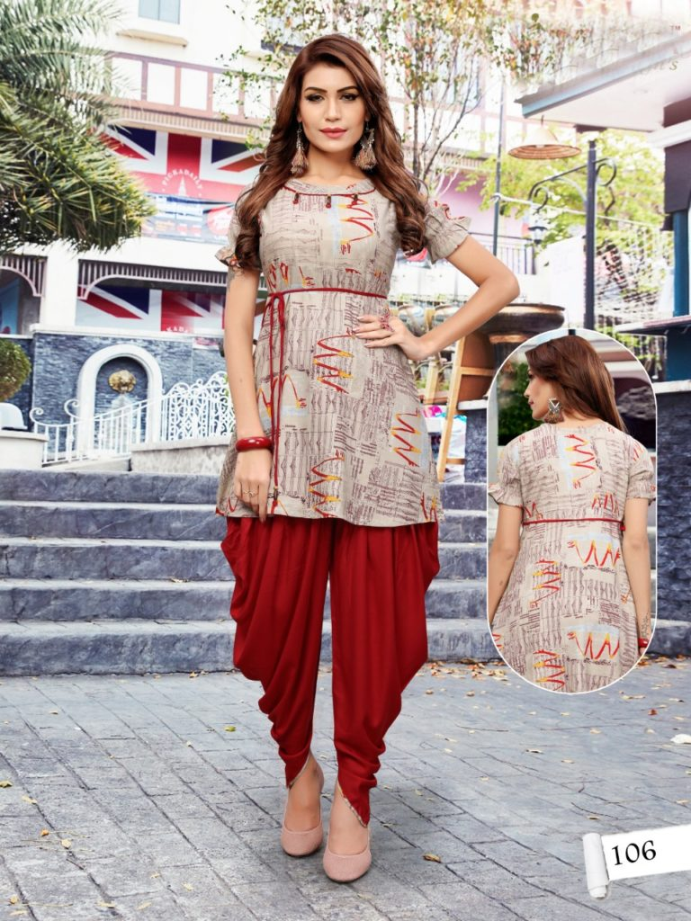 gopal present patola vol 1 rayon top with dhoti pattern Kurtis wholesale