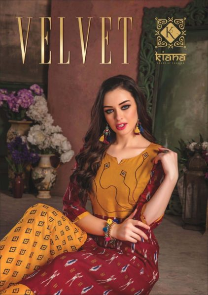 kiana present velvet rayon kurti with palazzo wholesalers