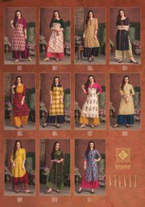 kiana present velvet rayon kurti with palazzo wholesalers @ RS 579