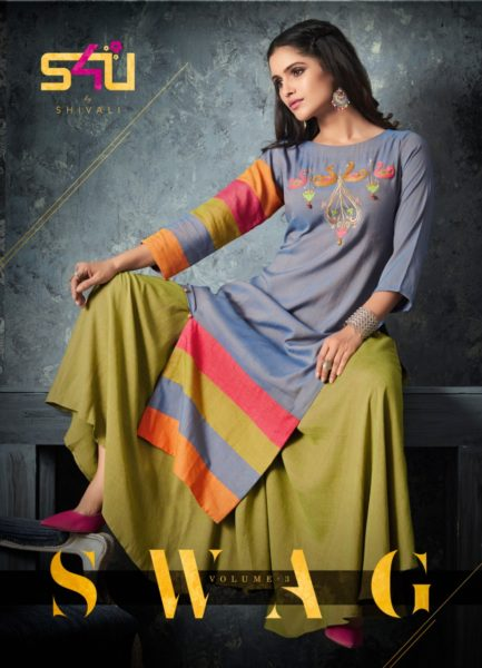 s4u Swag vol 3 top and bottom party wear Kurtis wholesalers India