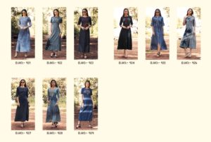 Blue lee vol 3  Kajree fashion Denim long winter Kurtis wholesale