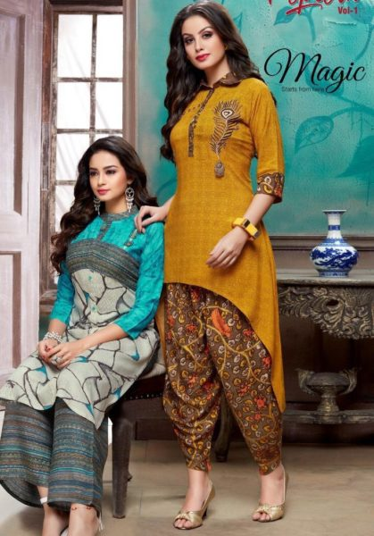 Popcorn vol 1 Kurtis with plazzo & Dhoti Kurtis wholesale supplier