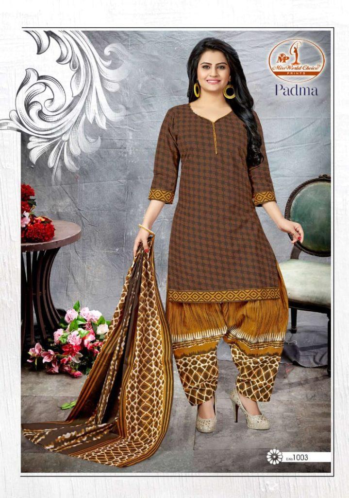 Padma Miss World Low range cotton print Dress Materials wholesaler