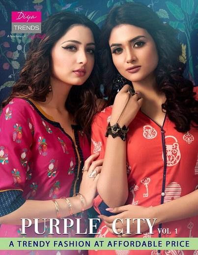 Purple city vol 1 by Diya Trends Rayon Kurtis wholesaler manufacturer