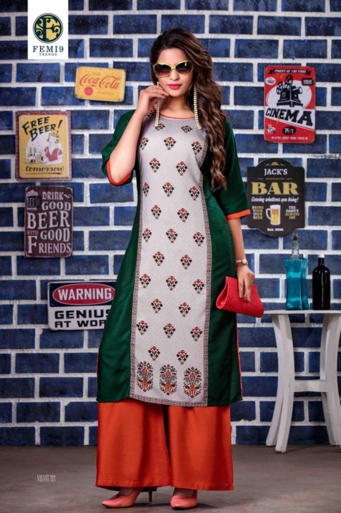 Velvette vol 2 Kurtis with plazzo pair Kurtis wholesaler Manufacturer