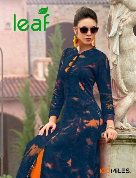 100 miles Leaf Rayon print Kurtis wholesale supplier
