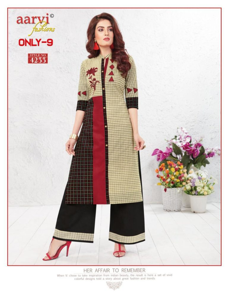 Only 9 Aarvi fashion Kurtis with plazzo wholesaler