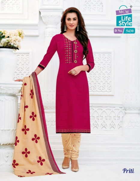 MCM PRITI Unstitched cotton churidar dress materials wholesaler