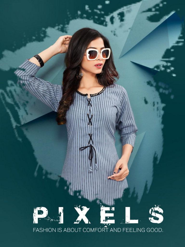 Pixels Rayon Straight Kurtis wholesaler