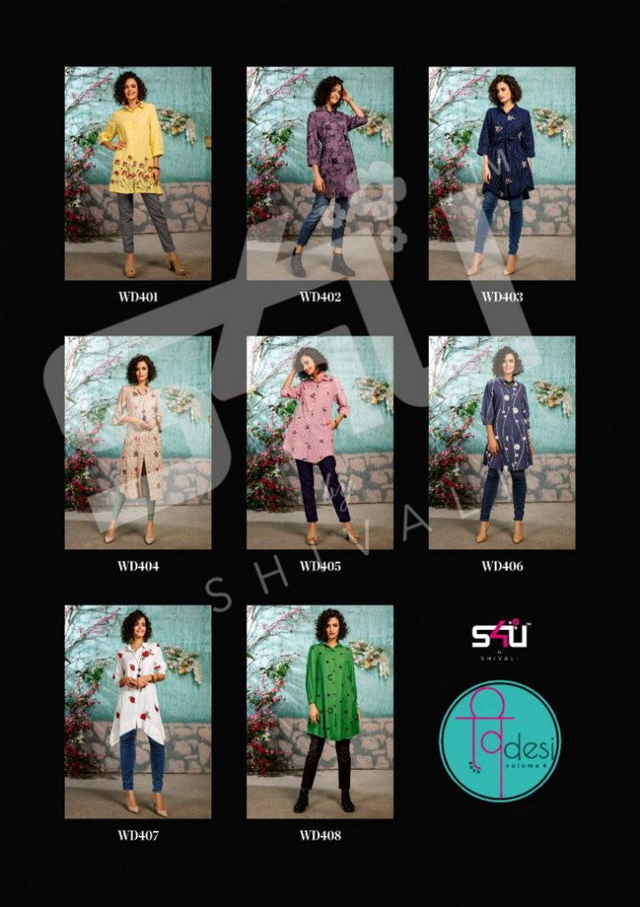 S4U V desi vol 4 shirt style Kurtis wholesalers