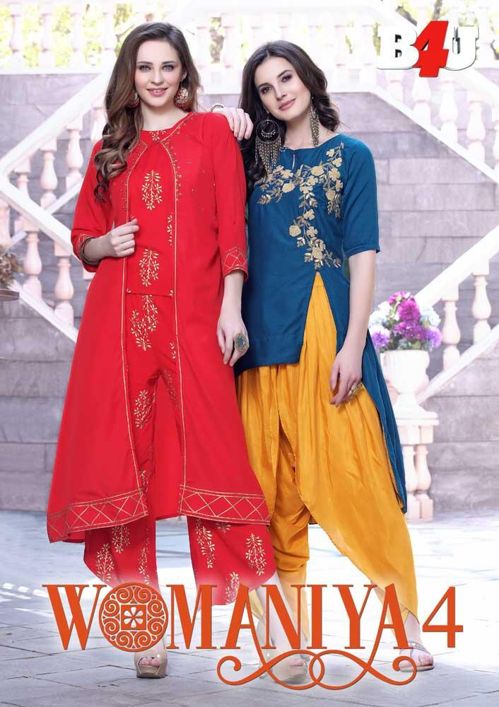B4U Womaniya vol 4 Kurtis with bottom Wholesalers