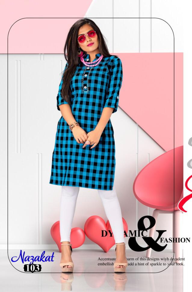 Sakhi Nazakat Cotton Checks office wear Kurtis wholesaler