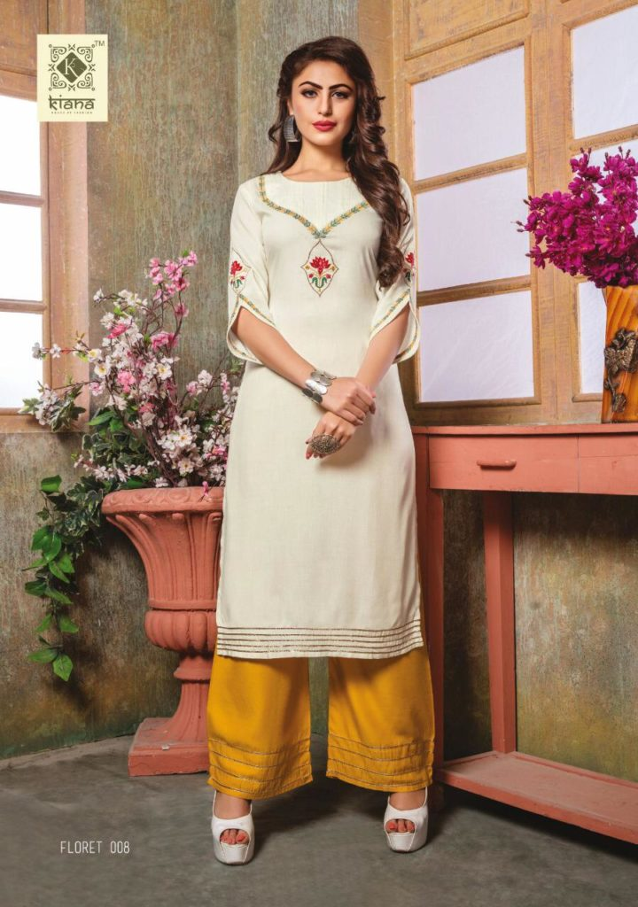 Kiana Floret Kurtis with Plazzo Wholesalers