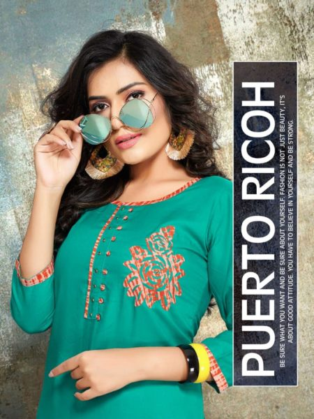 PUERTO RICOH office wear Rayon Kurtis Manufacturer
