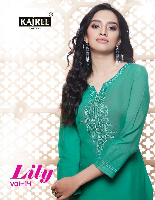 Kajree Lily vol 14 Formal Reyon Kurtis wholesalers