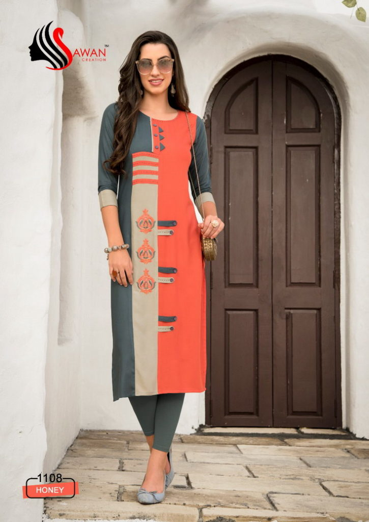 Sawan Honey vol 11 Reyon Long Kurtis wholesalers