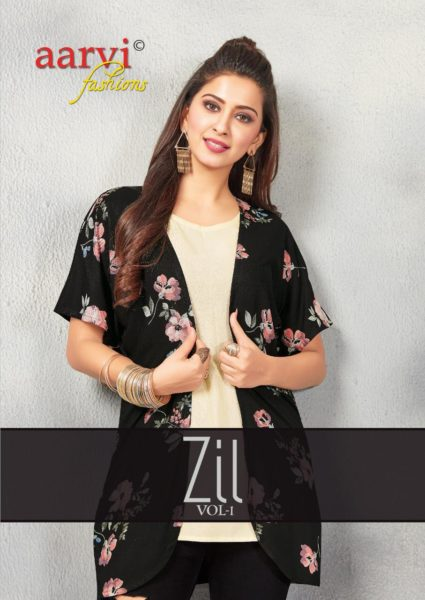 Aarvi zil Short Top with Shrug Kurtis wholesalers