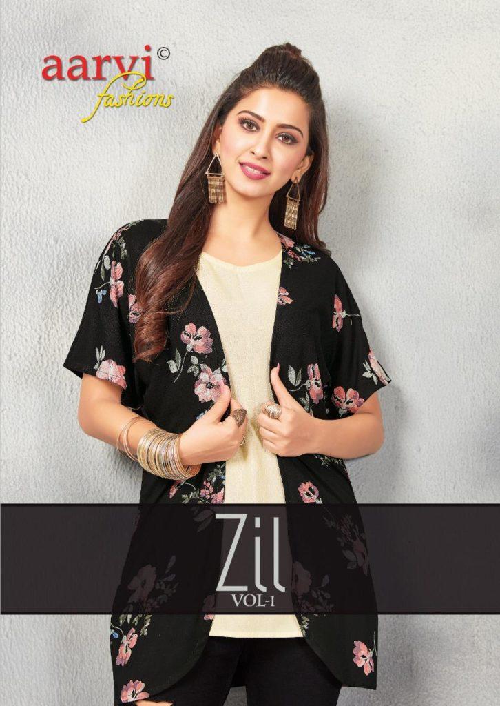 Aarvi zil Short Top with Shrug Kurtis wholesalers
