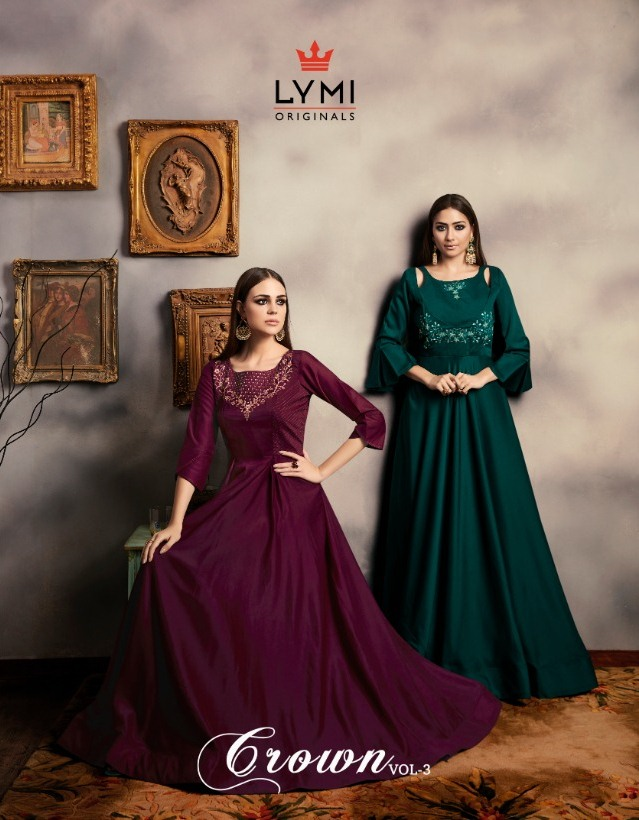 Crown vol 3 viscose muslin Gown Kurtis wholesalers