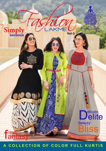 Kajal Fashion Lakme vol 3 Gown style long Kurtis wholesalers