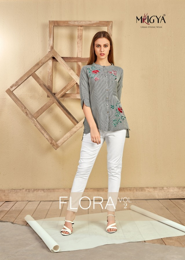 Mrigya Flora vol 2 cotton short Tops Kurtis wholesalers