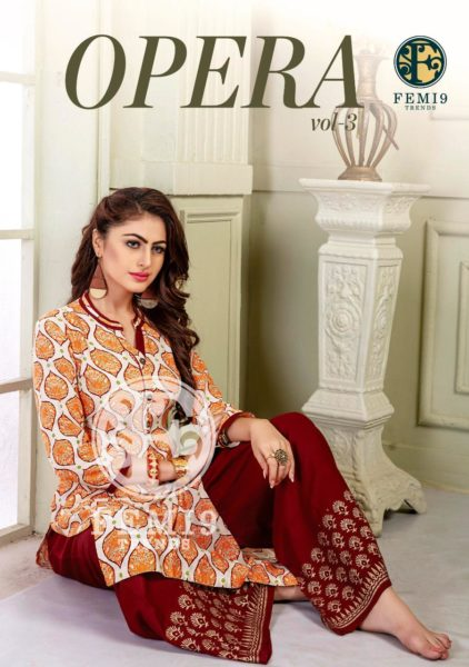 Opera vol 3 Kurtis with Plazzo Kurtis wholesalers