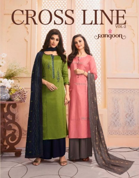 Rangoon Crossline vol 2 Top Plazzo & Duppatta Wholesalers