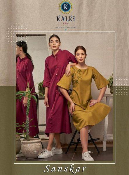 Kalki Sanskar Frock style Cotton Kurtis wholesalers