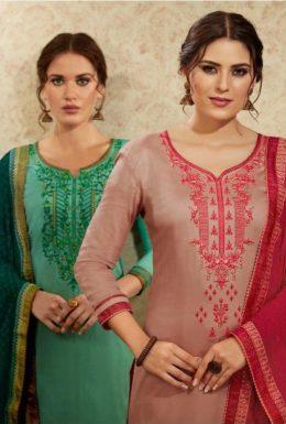 kessi Mallika vol 2 jam satin embroidery work suit wholesalers