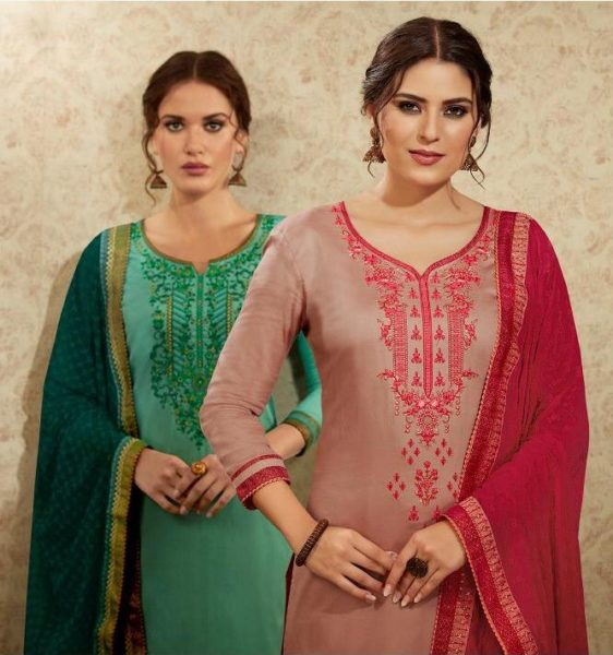 kessi Mallika vol 2 jam satin embroidery work suit wholesalers
