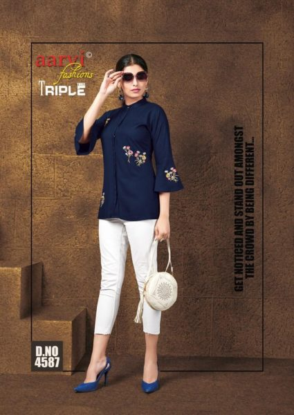 Aarvi Triple 3 vol 6 Short Kurtis wholesalers