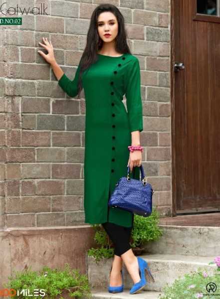 100 Miles Catwalk Rayon Long Kurtis wholesalers