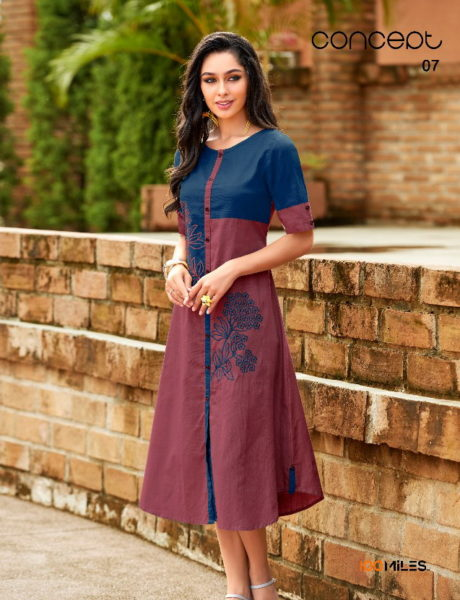 100 Miles Concept Fancy Cotton Kurtis Wholesalers