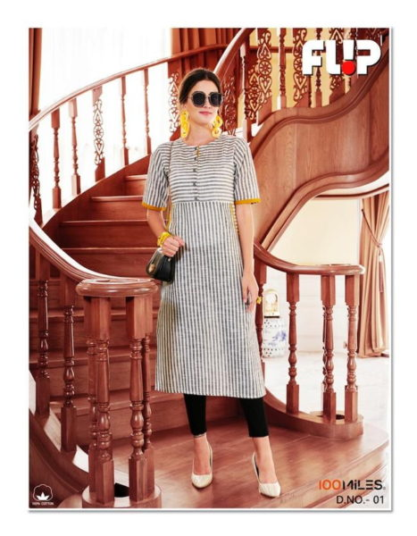 100 Miles Flip Cotton Kurtis wholesalers
