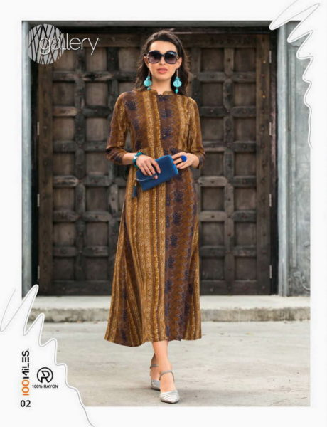 100 Miles Gallery Fancy Long Kurtis Wholesalers