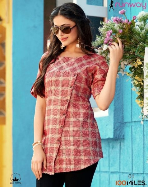 100 Miles Runway Cotton Short Tops Kurtis Wholesalers