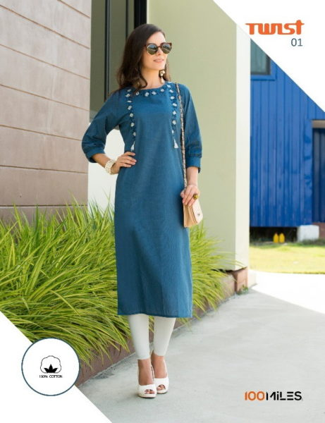 100 Miles Twist Cotton Work Long Kurtis Wholesalers