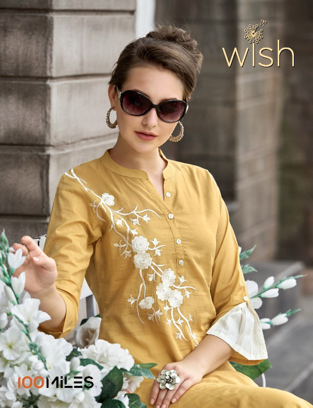 100 Miles Wish Long work Kurtis wholesalers