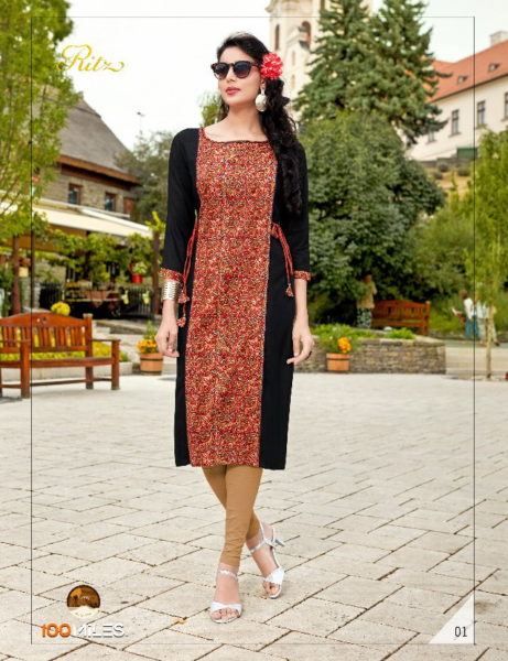 100 miles Ritz Cotton Long Kurtis wholesale supplier