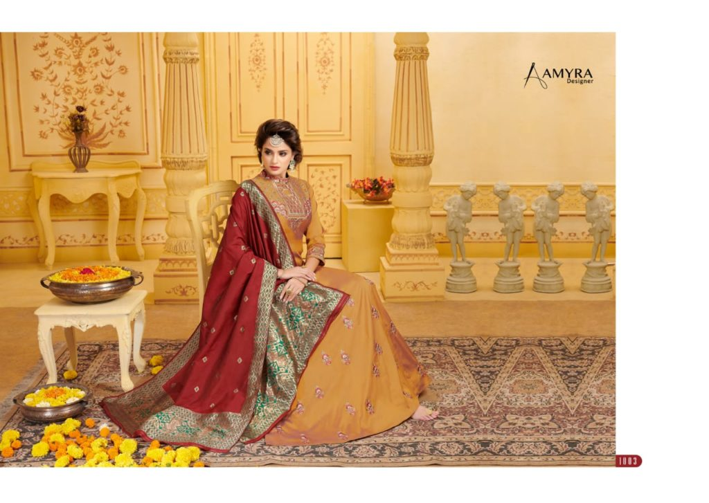 Amyra Crystal Heavy Long Gown with bottom & Dupatta Wholesalers