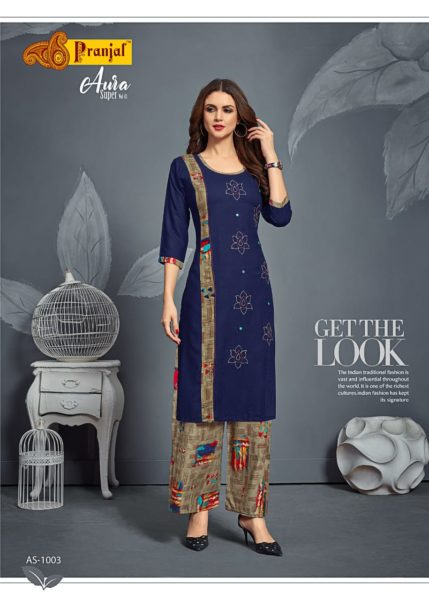 Aura Super vol 1 Kurtis with Palazzo Wholesalers