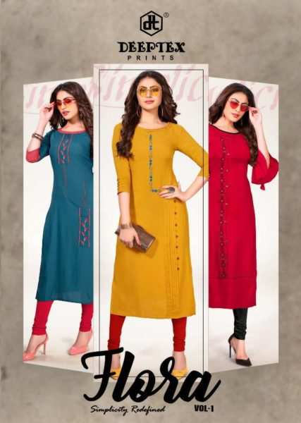 Deeptex Flora vol 1 Long Rayon Kurtis Wholesalers